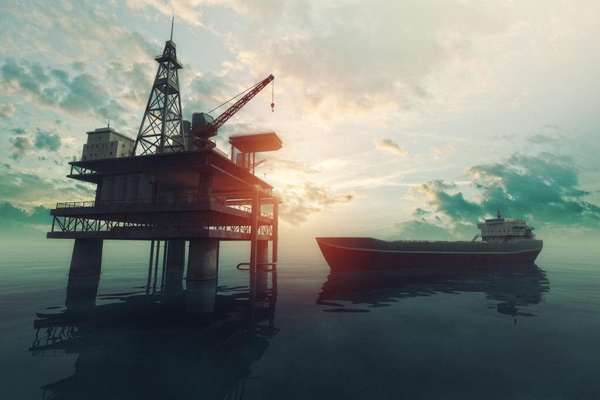 Sea oil rig with approaching tanker ship at sunset. 3D Render.