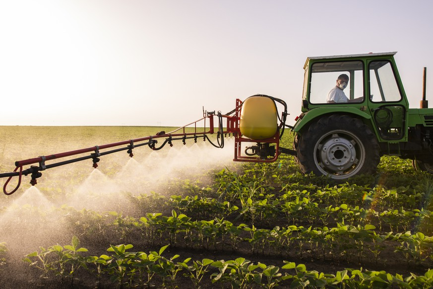 Tractor spraying pesticides on soy field  with sprayer at spring