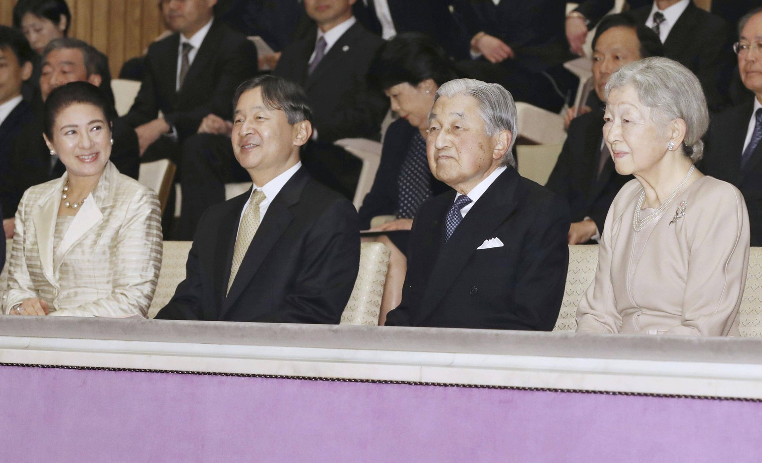 Japanese emperor at concert Japanese Emperor Akihito (2nd from R), Empress Michiko (R), Crown Prince Naruhito (2nd from L) and Crown Princess Masako attend a concert being held at the Imperial Palace in Tokyo on April 2, 2019, to celebrate the 60th anniversary of the imperial couple s marriage and the 30th anniversary of the emperor s enthronement. PUBLICATIONxINxGERxSUIxAUTxHUNxONLY