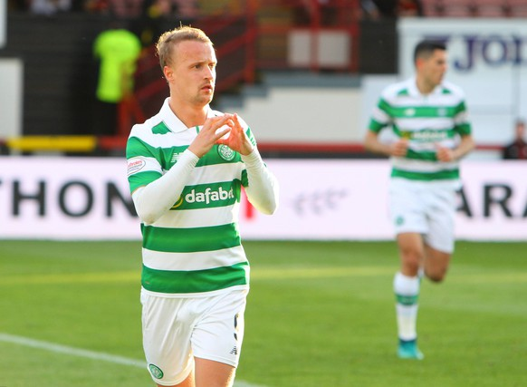 May 18th 2017, Firhill Stadium, Glasgow, Scotland; SPL Premier league football, Partick Thistle versus Celtic FC; Celtic s Leigh Griffiths celebrates the first goal xVagelisxGeorgarioux PUBLICATIONxINxGERxSUIxAUTxHUNxSWExNORxDENxFINxONLY ActionPlus11880785