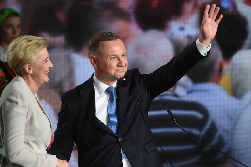 Presidential election 2020 in Poland. Andrzej Duda s electoral evening Presidential election 2020 in Poland. Andrzej Duda s electoral evening on June 28, 2020 in Lowicz, Poland. Andrzej Duda, Agata Kornhauser-Duda EN014346130224 PUBLICATIONxNOTxINxPOL