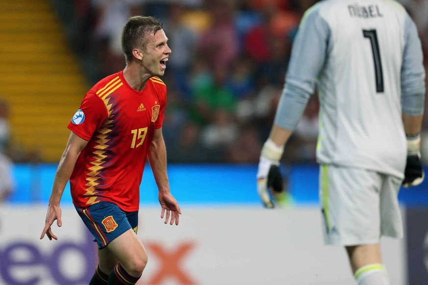 June 30, 2019 - Udine, UD, Italy - Daniel Olmo Carvajal of Spain U21, U 21 celebrate after scoring a goal during the Uefa Under 21 European Championship, EM, Europameisterschaft final match between Spain and Germany at Stadio Friuli on June 30, 2019 in Udine, Italy. Spain v Germany - UEFA U-21 Championship Final PUBLICATIONxINxGERxSUIxAUTxONLY - ZUMAn230 20190630zaan230602 Copyright: xDaniloxDixGiovannix