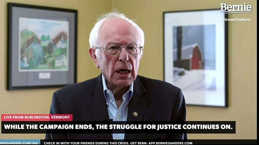 Democratic U.S. Presidential candidate Senator Bernie Sanders announces to supporters that he is suspending his campaign for the Democratic presidential nomination in a livestream broadcast from his home in Burlington, Vermont, U.S. April 8, 2020.   Bernie Sanders 2020 Campaign/Handout via Reuters