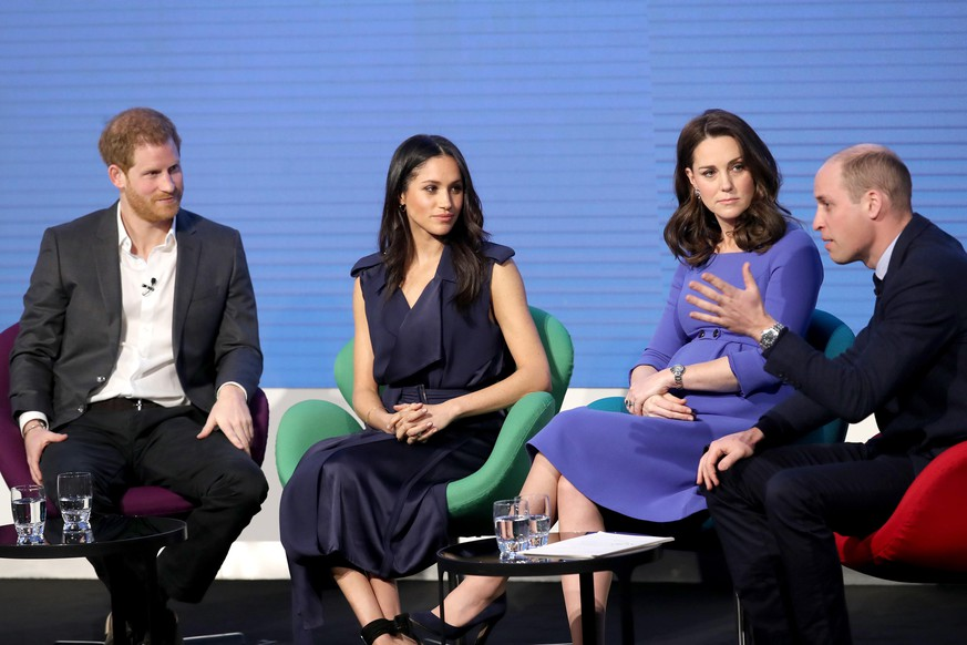 LONDON, ENGLAND - FEBRUARY 28:  Prince Harry, Meghan Markle, Catherine, Duchess of Cambridge and Prince William, Duke of Cambridge attend the first annual Royal Foundation Forum held at Aviva on February 28, 2018 in London, England. Under the theme 'Making a Difference Together', the event will showcase the programmes run or initiated by The Royal Foundation.  (Photo by Chris Jackson - WPA Pool/Getty Images)