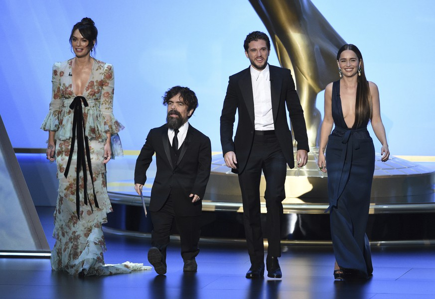 Lena Headey, from left, Peter Dinklage, Kit Harington and Emilia Clarke, of the cast of