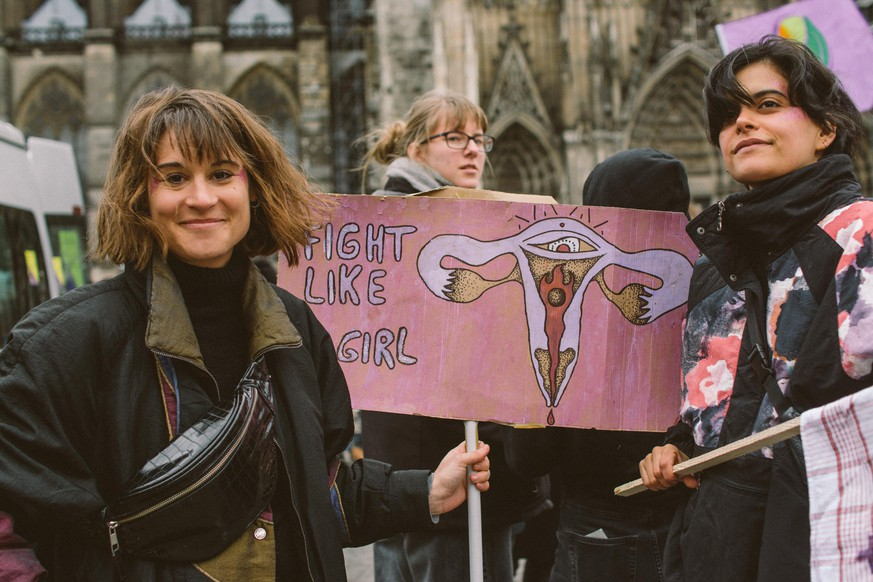 Women demonstrate during the women's match on International women's day in Cologne, Germany, on March 8, 2020. More than 600 people takes part in women day march. (Photo by Ying Tang/NurPhoto via Getty Images)