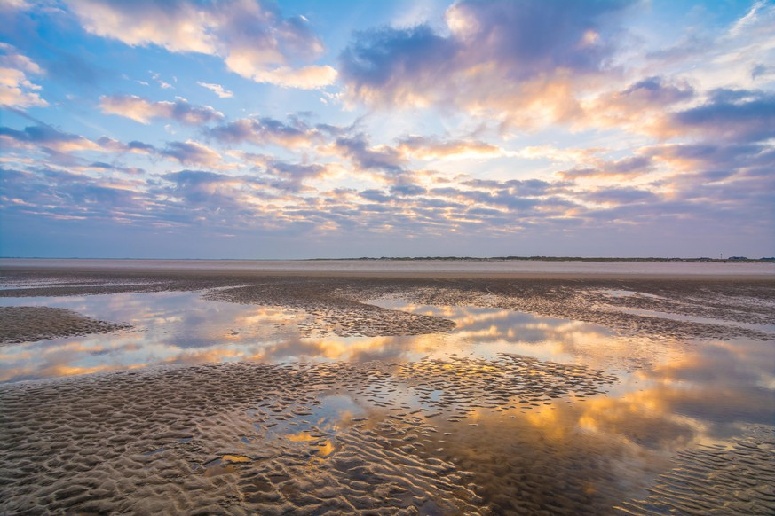 Sunrise on the Wadden Sea in St Peter Ording, Germany