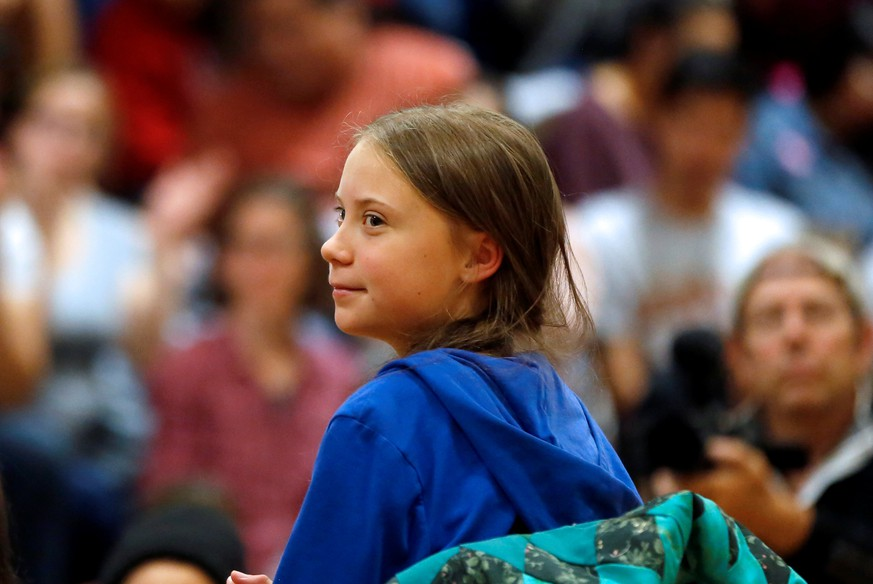 Climate change environmental activist Greta Thunberg speaks at a youth panel in Pine Ridge, South Dakota, U.S. October 6, 2019. REUTERS/Jim Urquhart