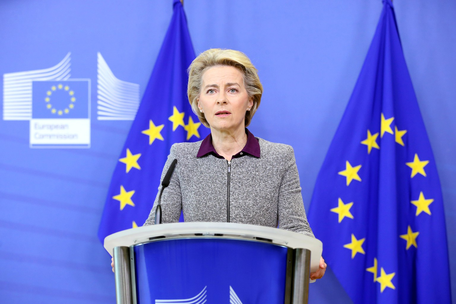 European Commission President Ursula von der Leyen addresses a news conference following the resignation of the EU trade commissioner Phil Hogan, in Brussels, Belgium, August 27, 2020. Francois Walschaerts/Pool via REUTERS