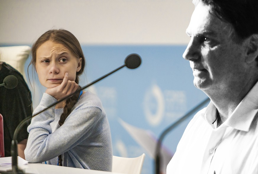 December 9, 2019, Madrid, Madrid, Spain: Greta Thunberg looks a colleague in a Fridays for Future NGO press conference in the COP25 Summit, Madrid. Madrid Spain PUBLICATIONxINxGERxSUIxAUTxONLY - ZUMAa131 20191209zapa131010 Copyright: xCelestinoxArcexLavinx