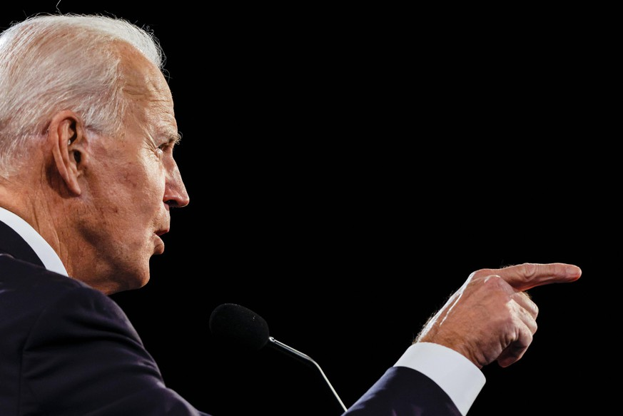 Democratic presidential nominee Joe Biden makes a point during final presidential debate with President Donald Trump at Belmont University on Thursday, October 22, 2020 in Nashville, Tennessee. This is the last debate between the two candidates before the election on November 3. Pool PUBLICATIONxINxGERxSUIxAUTxHUNxONLY NASP20201022179 JImxBourg