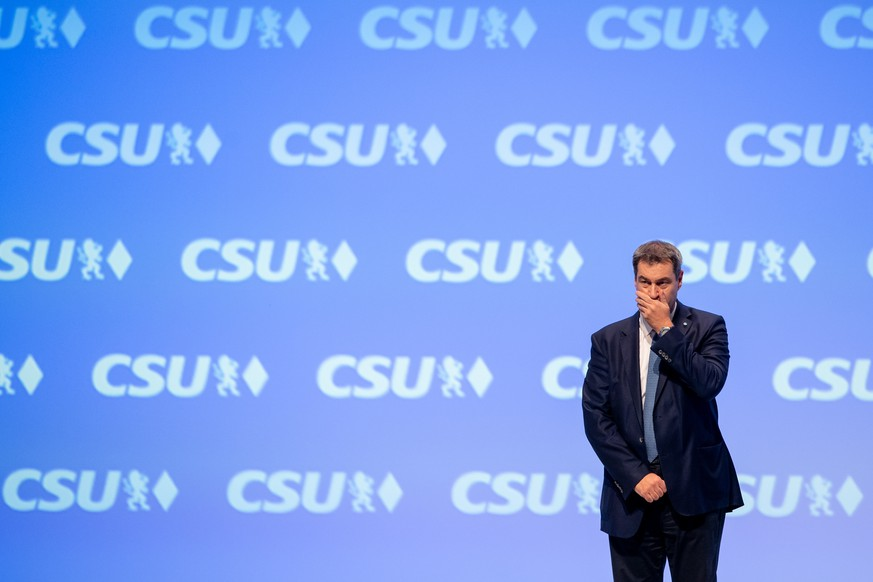 MUNICH, GERMANY - OCTOBER 18: Markus Soeder, leader of the Christian Social Union (CSU), the Bavarian party of Germany's Christian Democrats, stands on the podium after his speech on the first day of a two-day CSU party congress on October 18, 2019 in Munich, Germany. Soeder is seeking re-election as party leader. (Photo by Lennart Preiss/Getty Images)