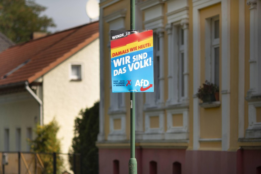 Landtagswahl in Brandenburg 2019, Wahlplakat der Partei AfD mit dem Wahlspruch Wir sind das Volk! 26.08.2019, Brandenburg, GER - Landtagswahl in Brandenburg 2019, Wahlplakat der Partei AfD mit dem Wahlspruch Wir sind das Volk!, Schwanebeck Brandenburg Deutschland Landtagswahlen Brandenburg *** State election in Brandenburg 2019, election poster of the party AfD with the slogan We are the people 26 08 2019, Brandenburg, GER State election in Brandenburg 2019, election poster of the party AfD with the slogan We are the people , Schwanebeck Brandenburg Germany State elections Brandenburg